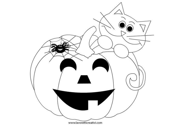 ZUCCA DI HALLOWEEN Zucca di Halloween con gatto nero e ragno da attaccare alle porte e ai vetri delle finestre.