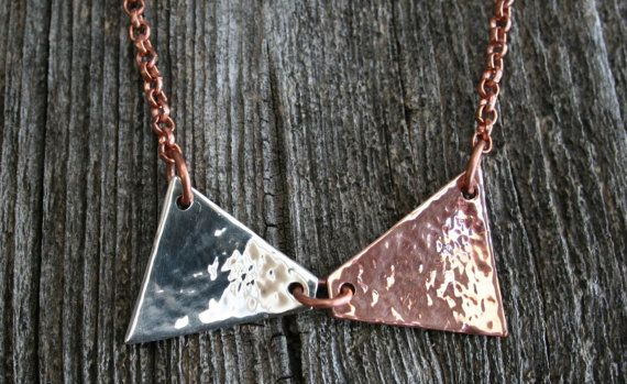 Bow Tie Necklace Silver and Copper Hammered by RambleRove on Etsy