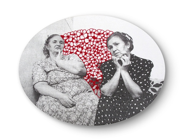 """""""Spaces Between Us"""" embroidery on images from newspapers by Maria Ikonomopoulou"""