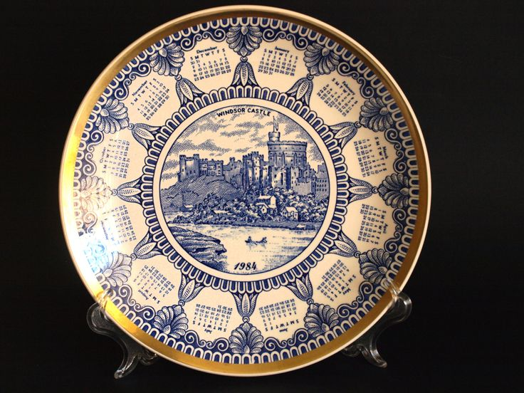 Vintage 1984 Birthday Calendar Souvenir Plate - British Windsor Castle Mason's Wall Hanging - Made in England by FunkyKoala on Etsy