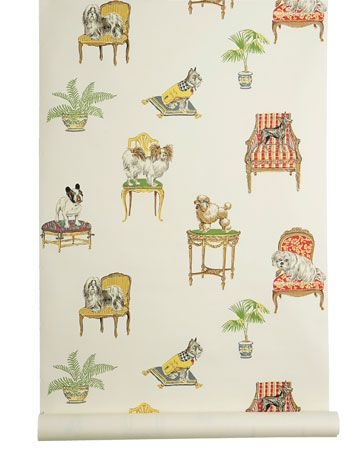 Dog Wallpapers - Cute Wallpaper Dogs - House BeautifulFifi & Friends (in White)  These pampered lapdogs may be spoiled, but they won't shed a hair on your furniture. Paper. THIBAUT: 800-223-0704; thibautdesign.com