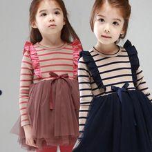 kızlar giyim ilkbahar tutu prenses kız bebek elbise çizgili pamuklu kız parti elbise yay düğüm doğum tutu kızlar için elbiseler(China (Mainland))