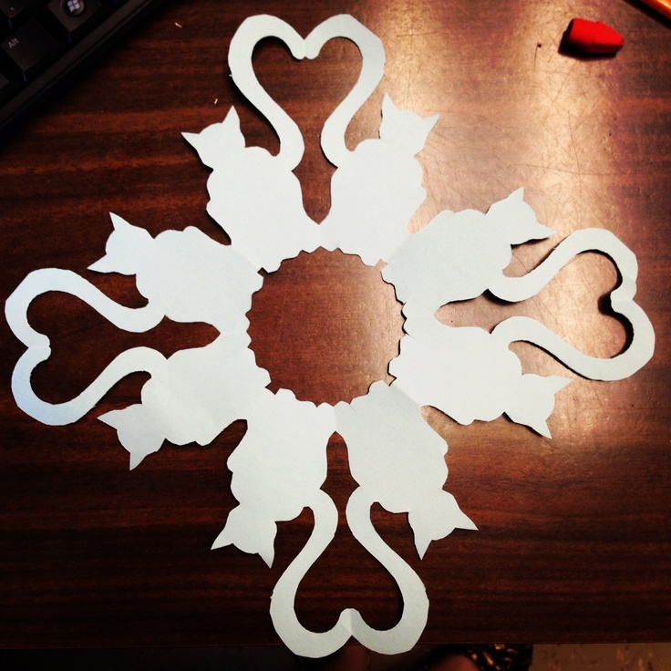 Cat Paper Snowflake (With images) | Paper snowflake ... |Cat Snow Flakes