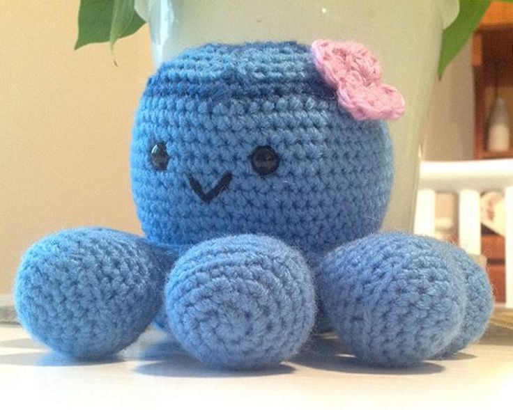 Molly the blue ringed octopuss . Available in my Etsy store $35  https://www.etsy.com/au/shop/Chappygurumi?ref=profile_shopicon