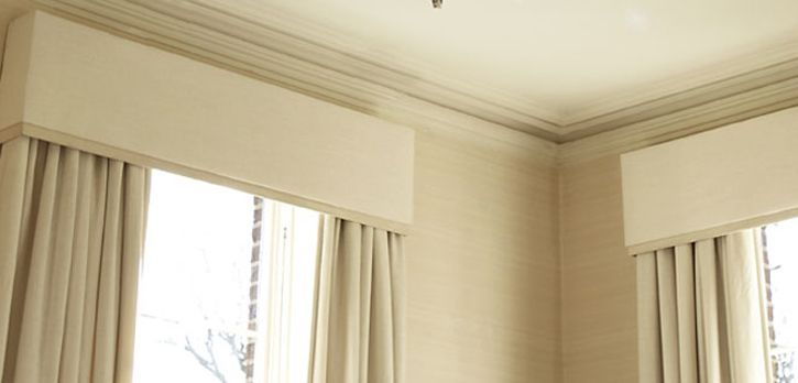 Layered Upholstered Padded Pelmet Matching Curtains