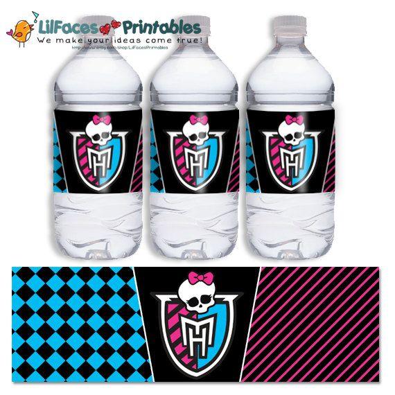 INSTANT DOWNLOAD - Monster High Water bottle label - Skull Logo Printable