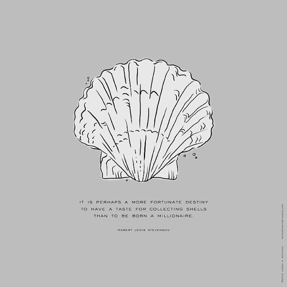 Shabby Chic And Beach Themed Scallop Sea Shell Modern Line Art Customize Background Color