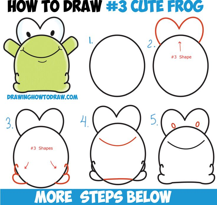 How to Draw Cute Cartoon Baby Frog from Number 3 Shape Easy Step by Step Drawing Tutorial for Kids