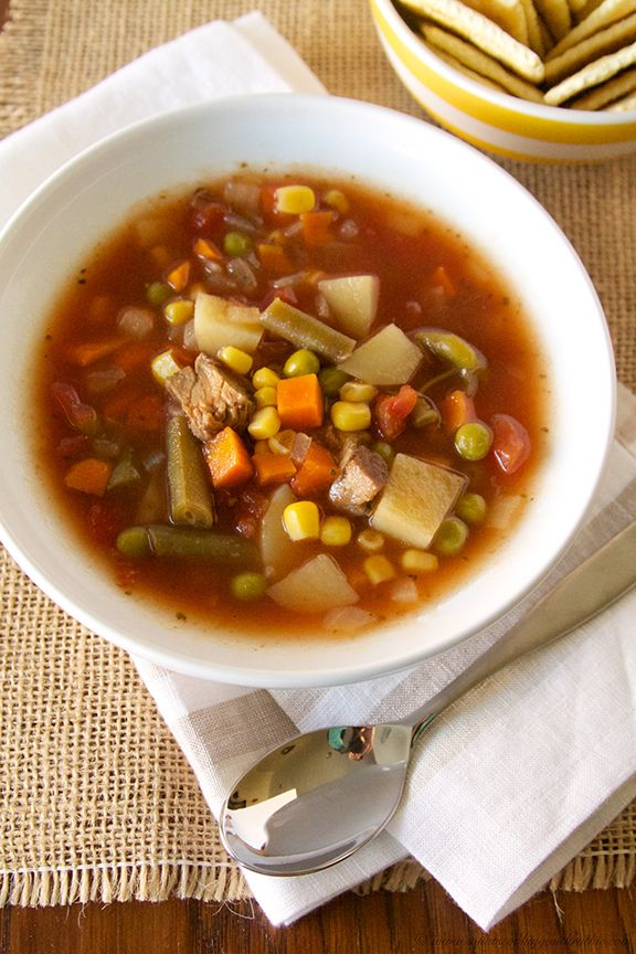 My BFFs Slow Cooker Vegetable Soup is that keep-you-warm-and-cozy recipe you have been looking for!  by www.whatscookingwithruthie.com #recipes #slowcooker #soup