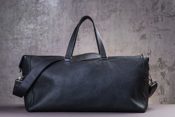 Large Italian Leather Duffle bag/Men's Gift/Black by FNDLeather