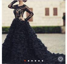 Мода великолепный черный свадебное платье 2016 о шея длинные рукава аппликации кружева бальное платье женщины свадебный жениться платья vestido noiva(China (Mainland))