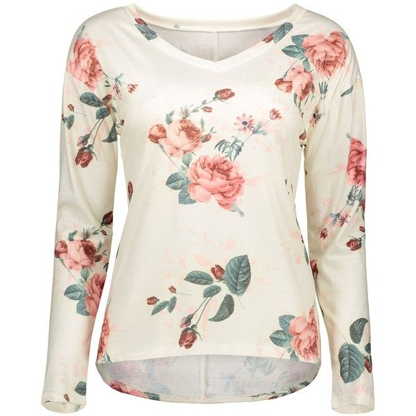 V Neck Long Sleeve Floral Tee (21 CAD) ❤ liked on Polyvore featuring tops, t-shirts, floral t shirt, v neck t shirts, floral tops, white top and long sleeve v neck t shirts