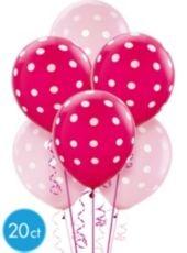 Latex Pink Polka Dot Balloons 20ct- Printed Latex Balloons- Birthday Balloons- Birthday Party Supplies - Party City