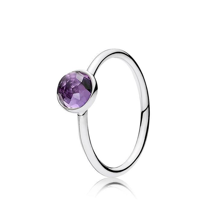Pandora February Droplet Birthstone Ring 191012SAM Official Site