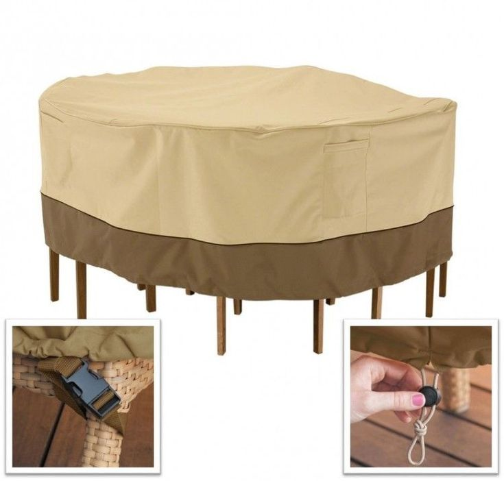 Round Patio Furniture Cover 70'' Waterproof Outdoor Table Chair Protection Beige #PerfectHomeSavings