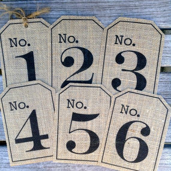 Burlap Table numbers, Rustic table numbers, Burlap hang tags, Rustic Wedding decor, Mason jar tags, SETS OF 6