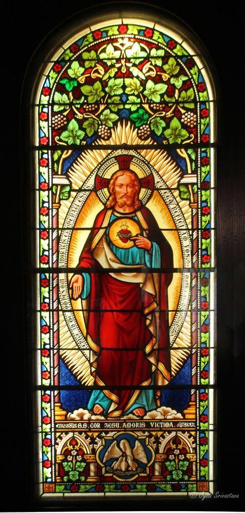 Chicago: Glass Art: Smith Museum [Sacred Heart of Jesus in Mandorla - by unidentified designer]