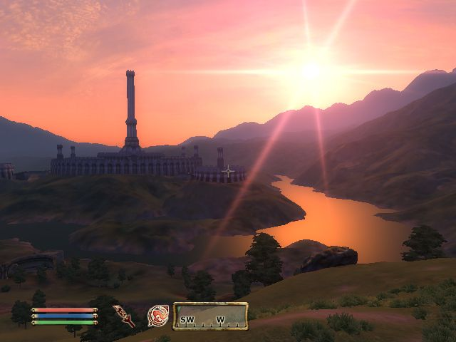 Oblivion can be so pretty. This is a view of the Imperial City Tower at sunset. (The Tower has a name but I can't remember it right now.)