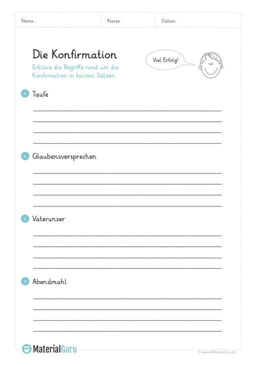 Ein kostenloses Arbeitsblatt zur Konfirmation, auf dem die Schüler ...