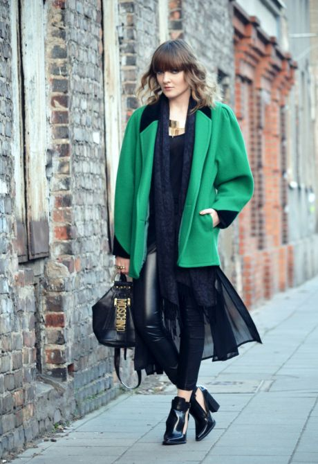 30 ways to add color to your winter outfits - bright green winter coat + sheer midi skirt + cutout ankle boots