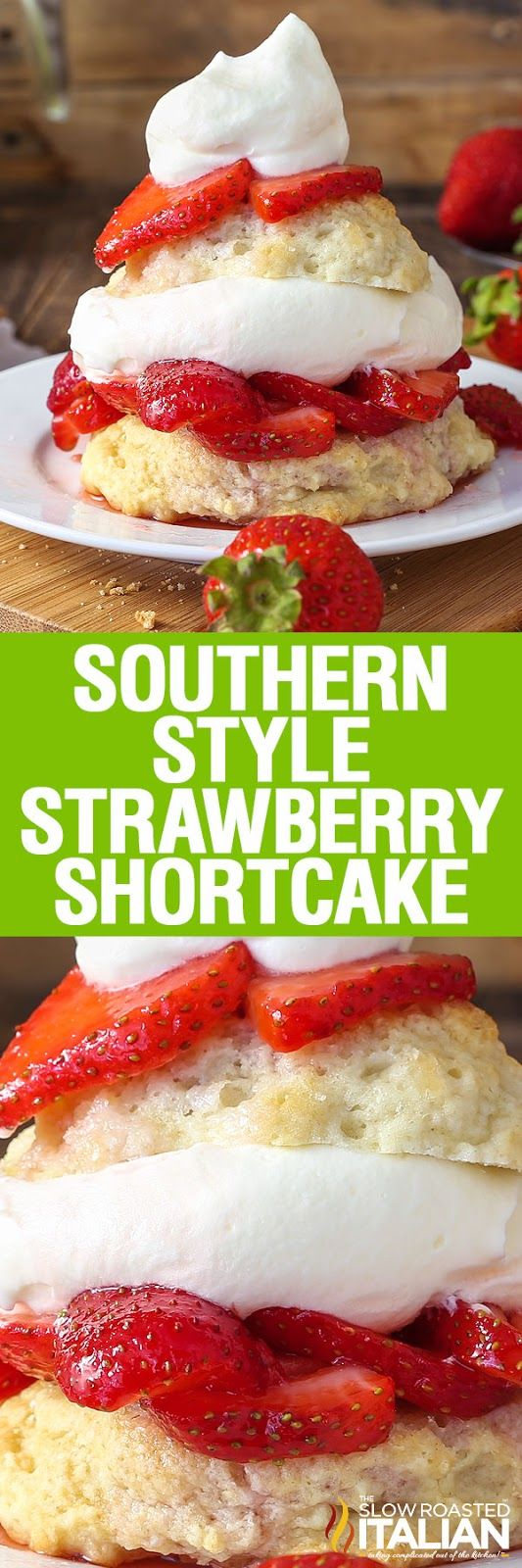 Southern-Style Strawberry Shortcake is a glorious dessert with a tender, sweet buttermilk biscuit piled with luscious, juicy strawberries and topped with light and fluffy homemade vanilla bean whipped cream. It all comes together with this easy recipe to create the perfect bite!