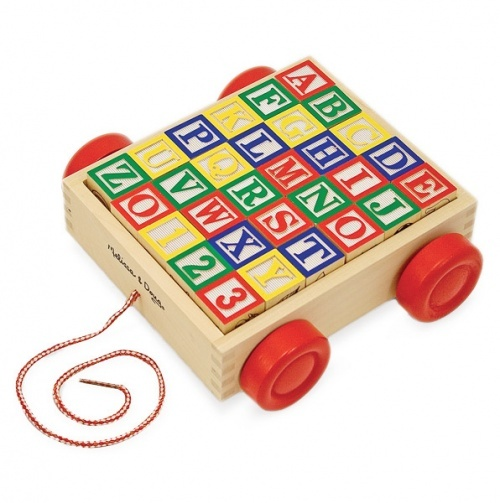 Classic Wooden ABC/123 Block Cart from Melissa & Doug. Helps promote creativity and encourages co-operative play, develops fine motor skills, hand - eye co-ordination, letter and number recognition, beginning spelling and number skills, spatial relationships and problem solving skills. Ages 3+ Includes 30 solid wood blocks in a sturdy 17.5cm x 17.5cm storage cart with pull cord. £13.75 category:Traditional wooden toy/educational toy.