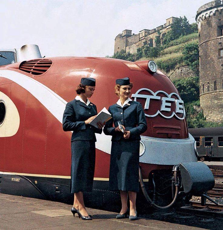 TEE (Trans Europe Express) Rhein-Main and hostesses at Koblenz, 1960s.