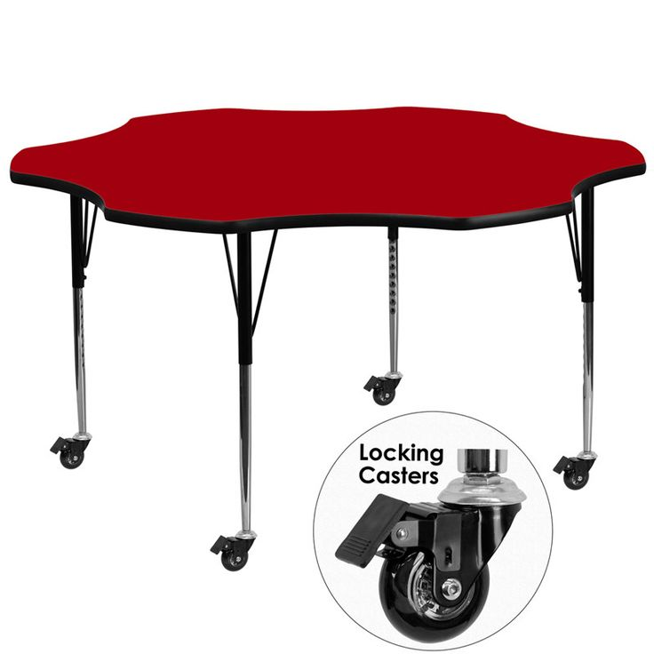 Buy Mobile 60u0027u0027 Flower Shaped Activity Table With Red Thermal Fused  Laminate Top And Standard Height Adjustable Legs At Harvey U0026 Haley For Only  409.86