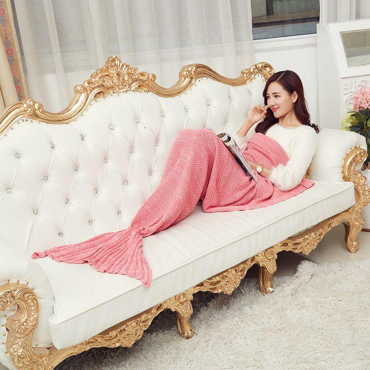 春寝具ソファ人魚毛布ウール編み魚スタイル少し尾毛布暖かい睡眠子王女の贈り物を愛し