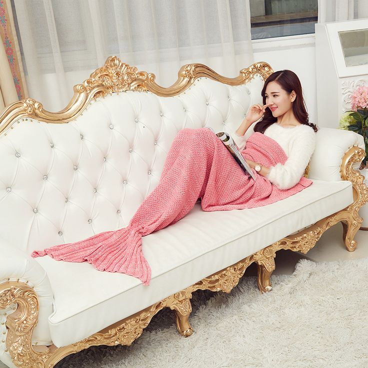 Spring Bedding Sofa Mermaid Blanket Wool Knitting Fish Style Little Tail Blankets Warm Sleeping Child Princess Loves Gift