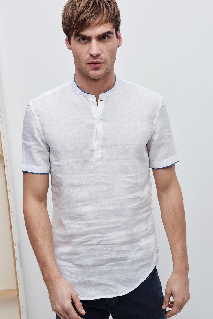 Trimmed Mandarin Collar Linen Shirt - shirts | Adolfo Dominguez shop online