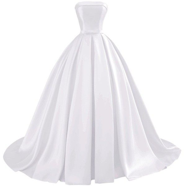 Bess Bridal Women's Ball Gowns Lace Up Long Formal Prom Evening Dress... (€89) ❤ liked on Polyvore featuring dresses, gowns, bridal gowns, white prom dresses, long homecoming dresses, white gown and long white dress
