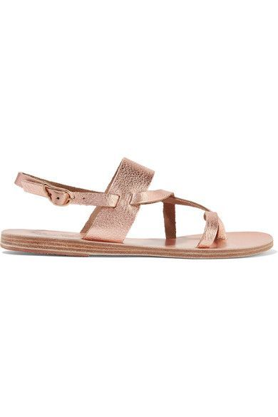 Heel measures approximately 10mm/ 0.5 inches Rose gold textured-leather Buckle-fastening slingback strap