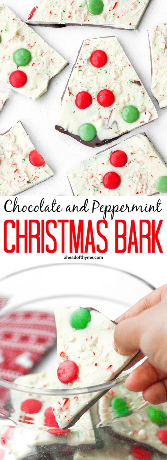 Chocolate and Peppermint Christmas Bark: Chocolate and peppermint Christmas bark is the perfect treat this holiday season to enjoy with your family and friends. | aheadofthyme.com via @aheadofthyme