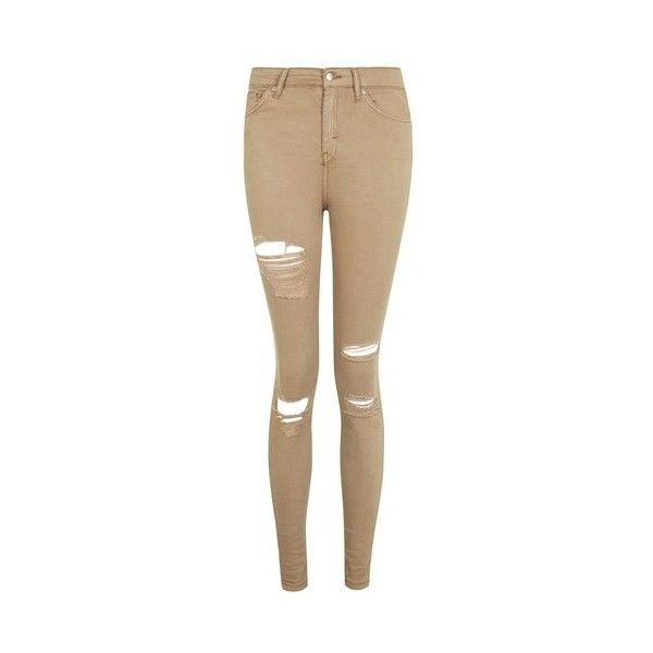 Topshop Moto Tan Super Rip Jamie Jeans (€53) ❤ liked on Polyvore featuring jeans, tan, distressed skinny jeans, brown skinny jeans, high rise skinny jeans, ripped skinny jeans and destroyed skinny jeans