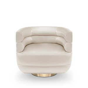Inspired by the mid-century retro designs, Loren armchair has a swivel golden brass base and it is upholstered in a leather. Due to its low back, it can be used both as a club chair or a living room chair. The compact and curved look, along with its rolled arms, give Loren a simple and sophisticated appearance.