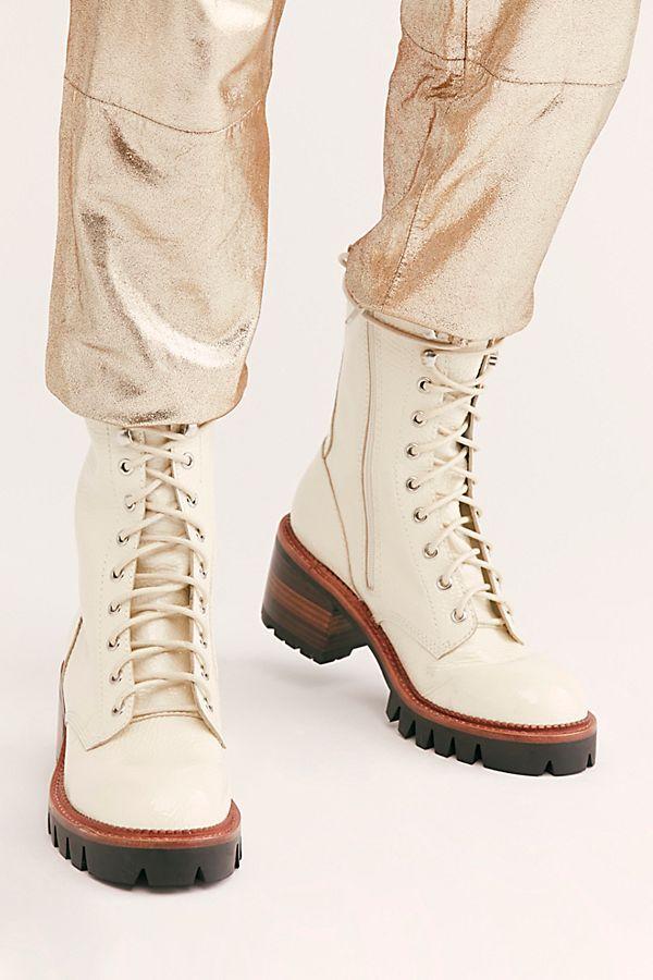 Evelyn Lace Up Boots in 2020 Hvite blonderstøvler, gratis  White lace up boots, Free