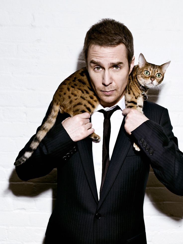 Sam Rockwell with a kitty