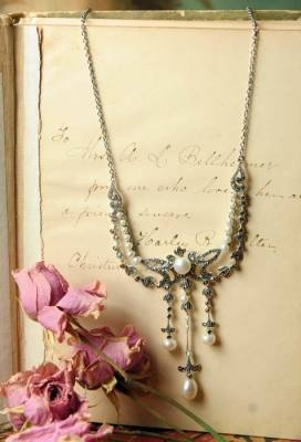 """Victoria Regina"" Marcasite & Pearl Necklace"