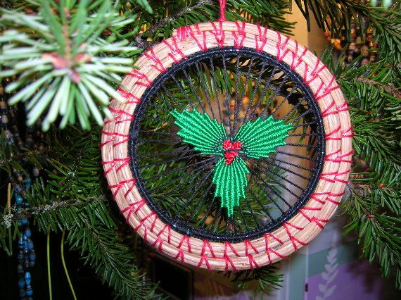 Pineneedle Christmas Ornament Holly by recycleddivas on Etsy, $5.00