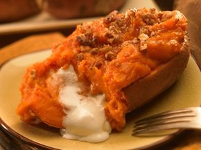 Twice Baked Sweet Potatoes with Marshmallow Surprise