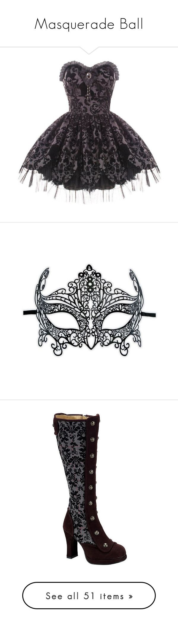 """""""Masquerade Ball"""" by shamallama ❤ liked on Polyvore featuring dresses, vestidos, short dresses, victorian dress, black cocktail dresses, short prom dresses, mini prom dresses, cocktail prom dress, costumes and masks"""