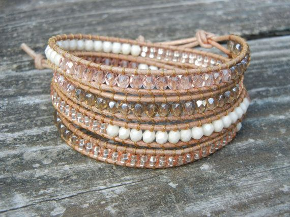 Beaded Leather Wrap Bracelet with Pink and Champagne Czech Glass Beads on Natural Tan Leather <3