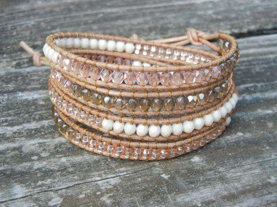 Beaded Leather Wrap Bracelet 4 Wrap with Peach by BraceletsByBetz, $54.00
