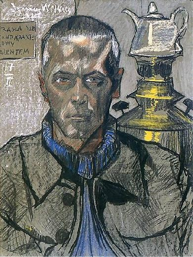 Witkacy - self portrait with samovar  #paintings #art