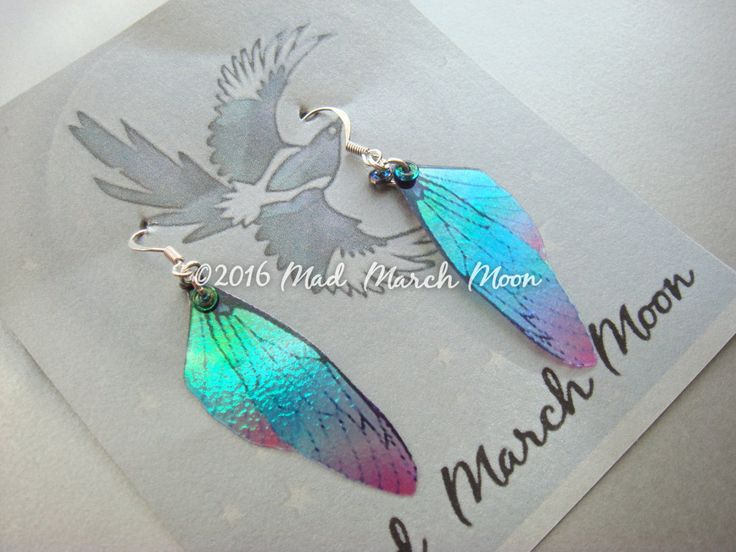 Micro Blue Blush Fairy wing earrings, iridescent with sterling silver ear wires 6.5cm drop, clip on version available by MadMarchMoon on Etsy