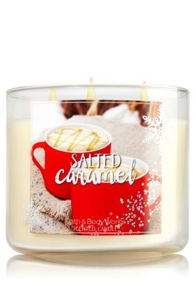 """Salted Caramel - 3-Wick Candle - Bath & Body Works - The Perfect 3-Wick Candle! Made using the highest concentration of fragrance oils, an exclusive blend of vegetable wax and wicks that won't burn out, our candles melt consistently & evenly, radiating enough fragrance to fill an entire room. Topped with a silver, snowflake-embossed lid! Burns approximately 25 - 45 hours and measures 4"""" wide x 3 1/2"""" tall."""