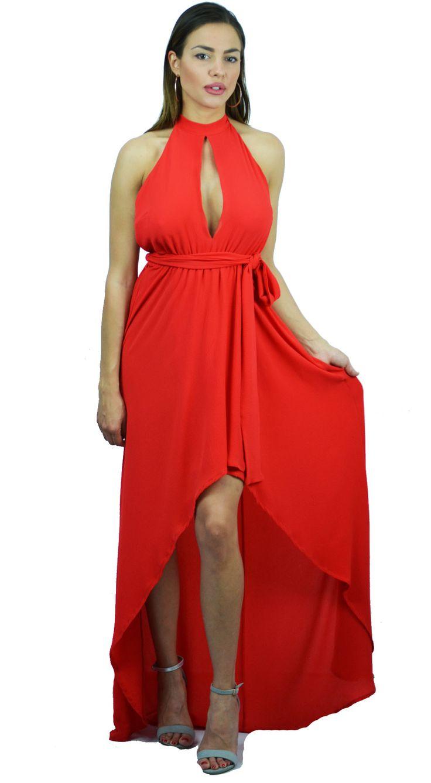 Μάξι Φόρεμα Online με άνοιγμα μπροστά και ζώνη στην μέση