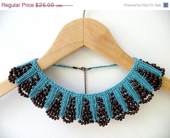 ON SALE Hand Knit Teal Blue Necklace Collar by ArzuMusaKnitting, $21.25
