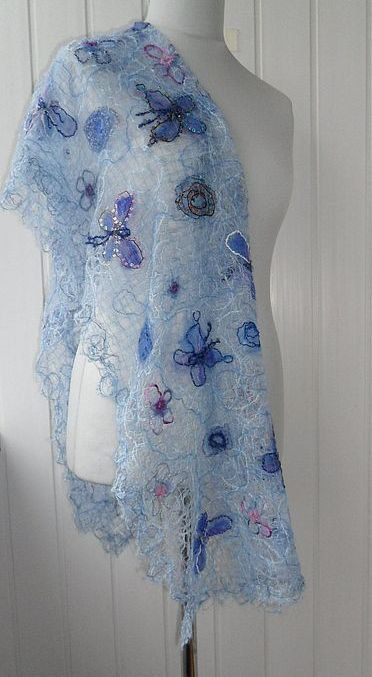 Handmade shawl crazy wool technigue for women by crazywoolLT, $70.00